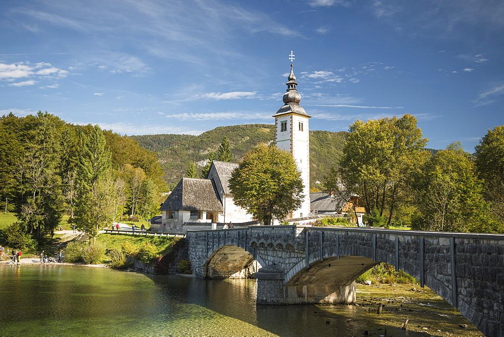 San Giovanni Church, Lake Bohinj, Triglav National Park, Upper Carniola, Slovenia
