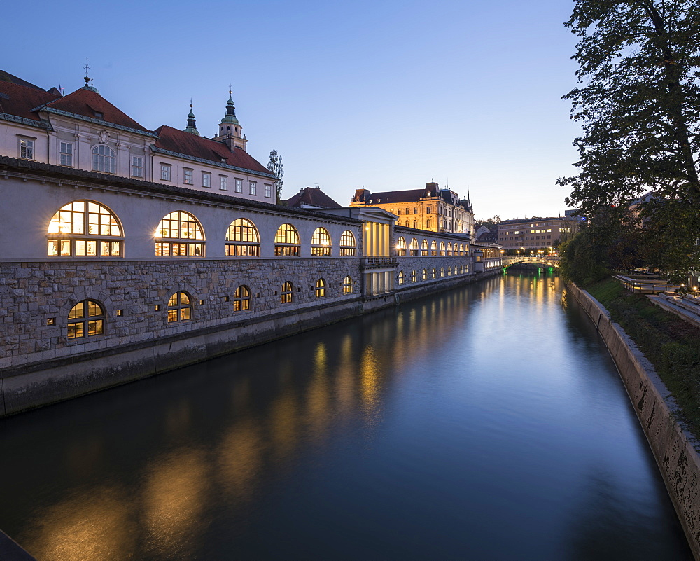 Ljubljanica Canal at Twilight, Old Town, Ljubljana, Slovenia