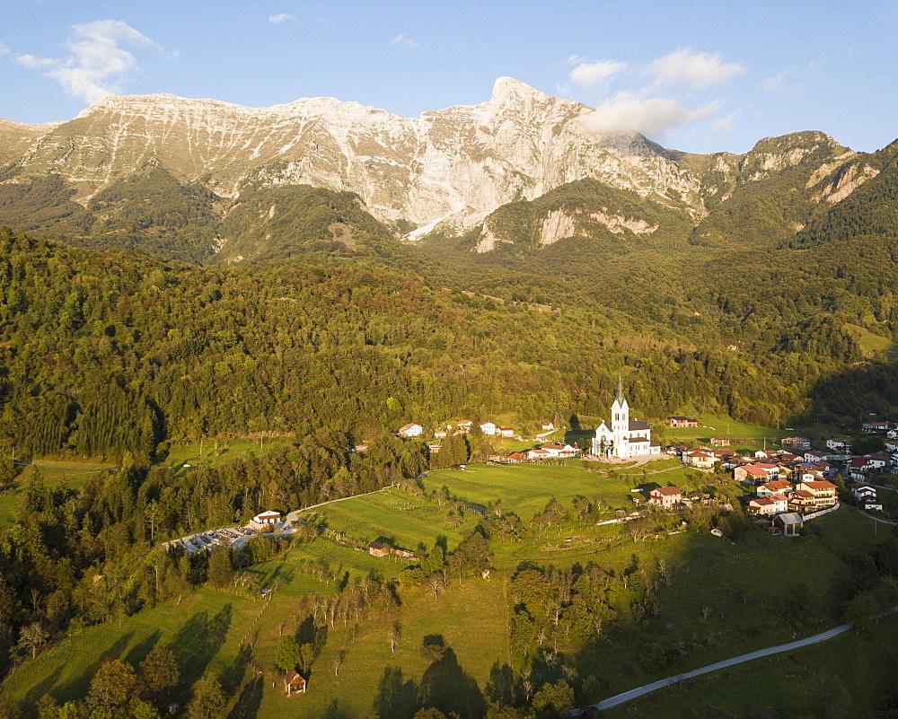 Aerial by drone, Dresnica, Triglav National Park, Upper Carniola, Slovenia, Europe