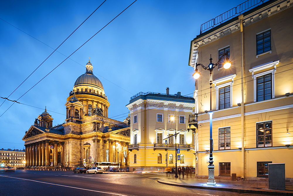 Exterior of St. Isaac's Cathedral at night, UNESCO World Heritage Site, St. Petersburg, Leningrad Oblast, Russia, Europe