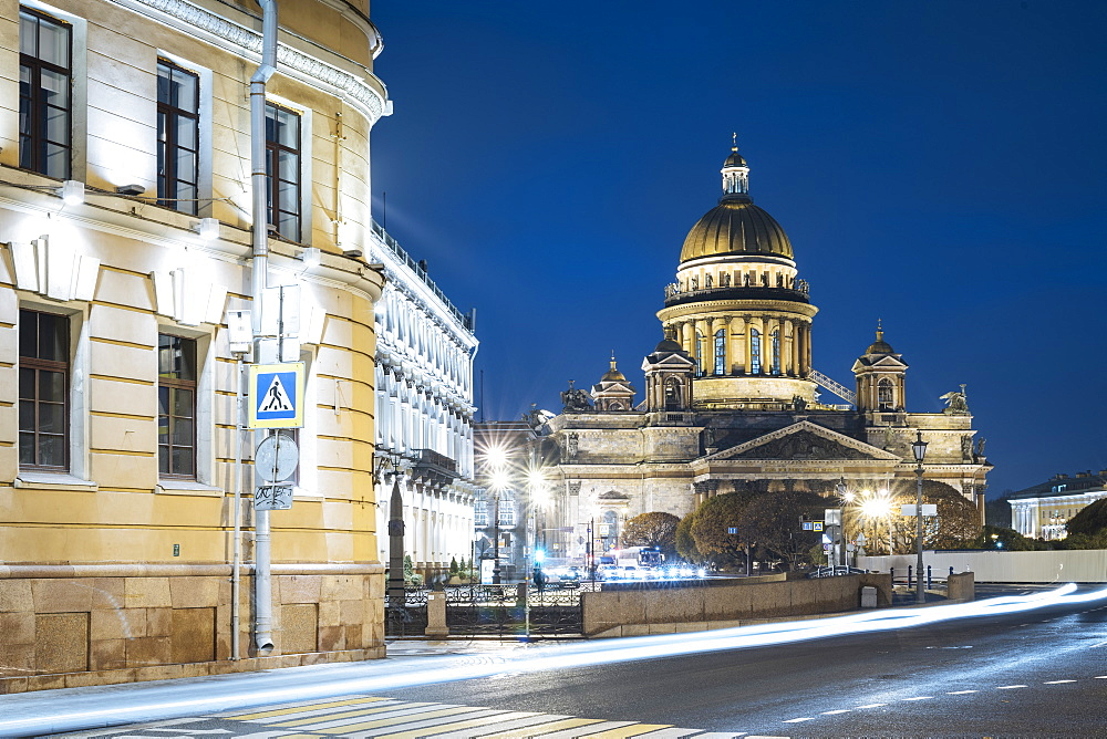 Voznesensky Avenue and exterior of St. Isaac's Cathedral at night, UNESCO World Heritage Site, St. Petersburg, Leningrad Oblast, Russia, Europe