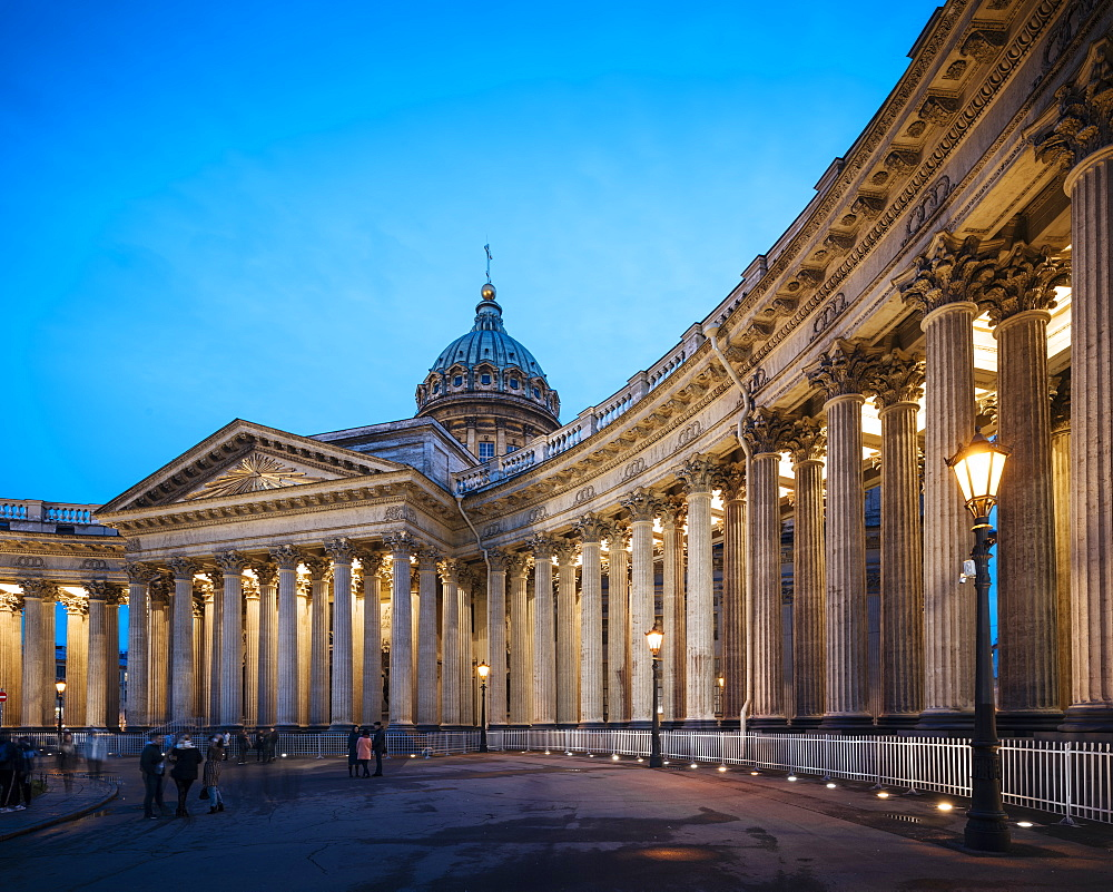 Exterior of Cathedral of Our Lady of Kazan at night, UNESCO World Heritage Site, St. Petersburg, Leningrad Oblast, Russia, Europe