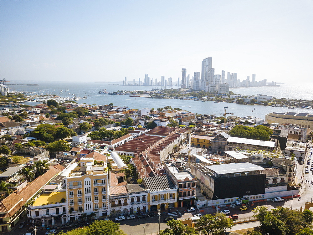 Aerial view by drone of Cartagena, Bolivar Department, Colombia, South America