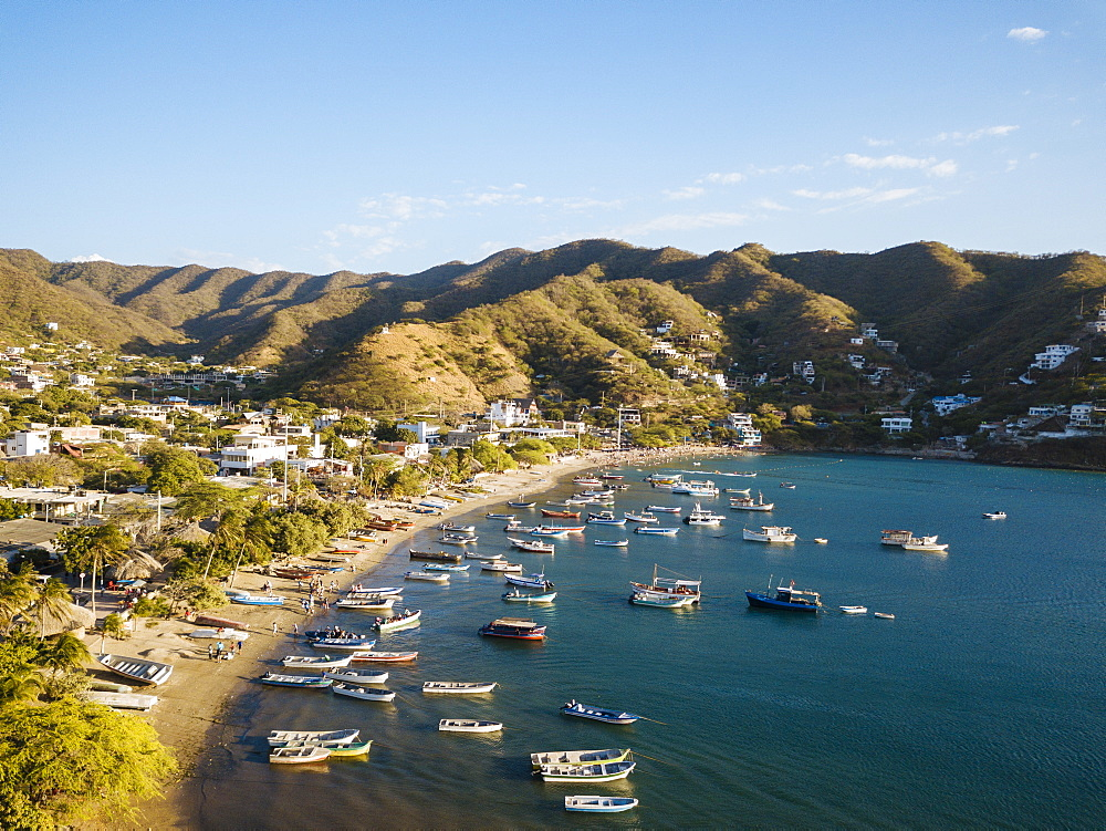 Aerial by drone of Taganga, Magdalena Department, Caribbean, Colombia, South America