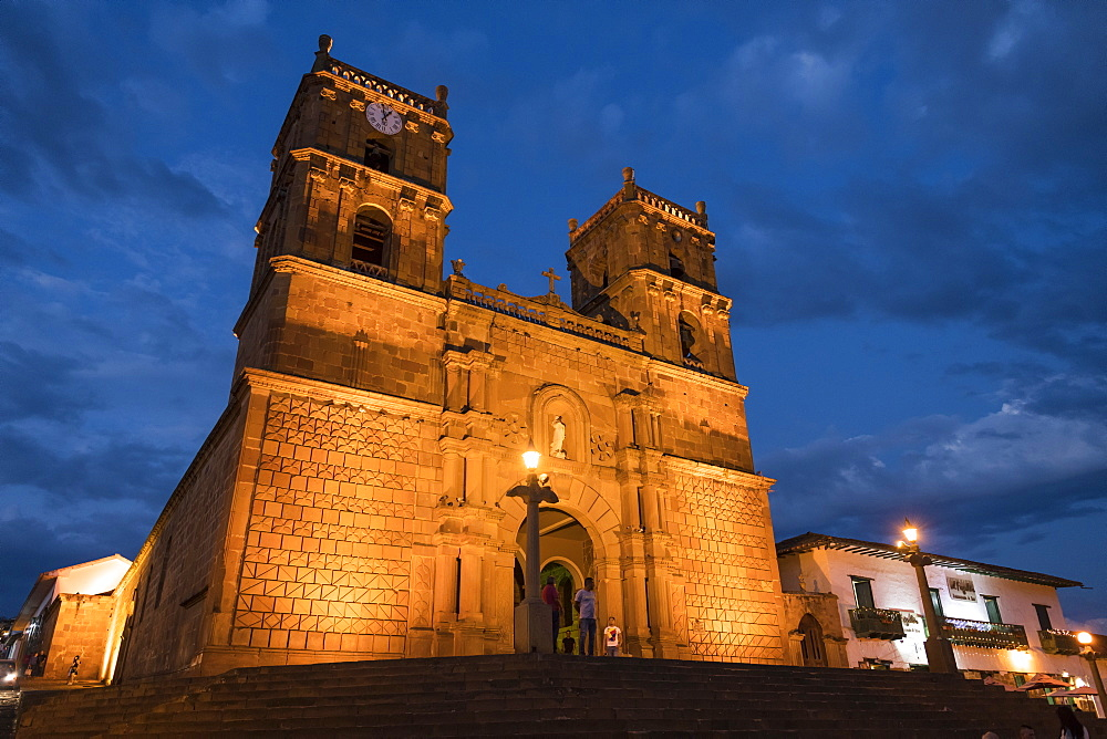 Cathedral of Barichara at night, Barichara, Santander, Colombia, South America - 848-2157