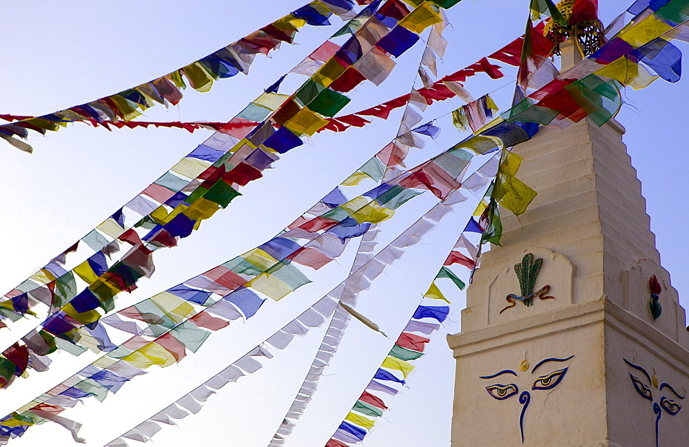 Stupa and prayer flags in the Whochen Thokjay Choyaling Monastery, Swayambhu, Nepal, Asia