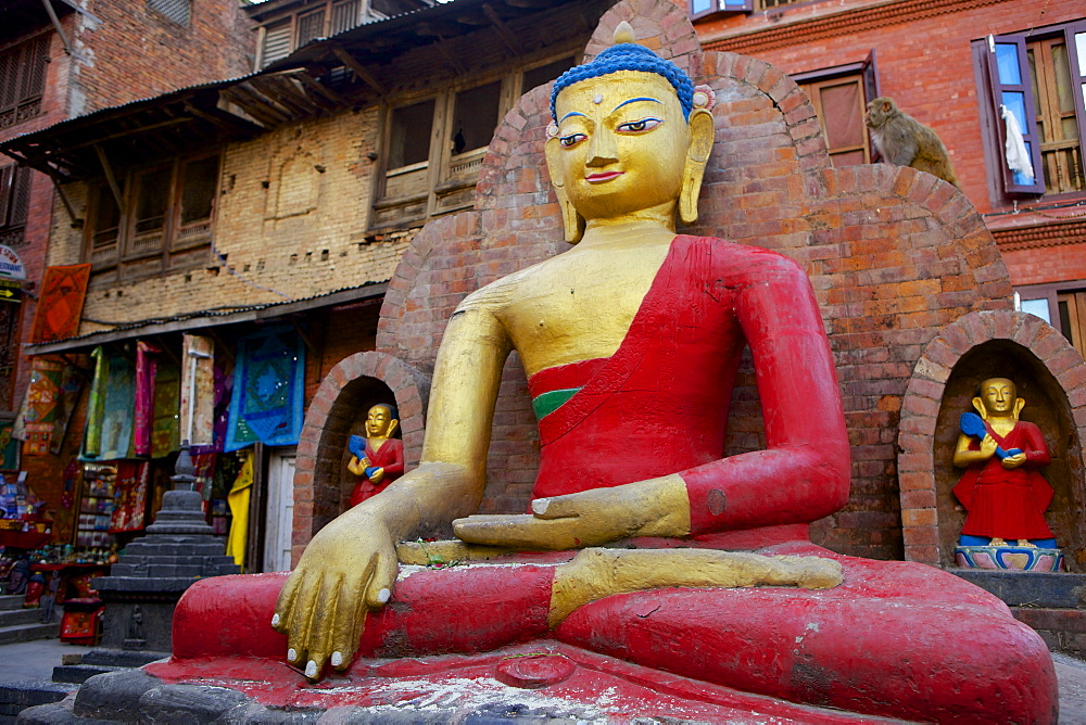 Buddha Statue, Swayambhunath (Monkey Temple), UNESCO World Heritage Site, Kathmandu, the Kathmandu Valley, Nepal, Asia