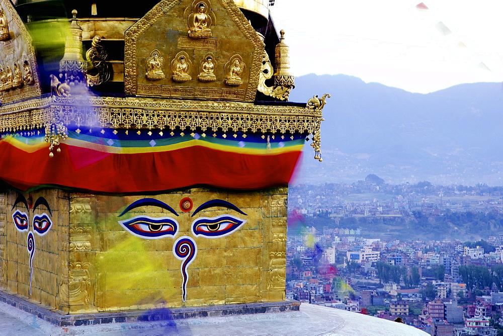 Higher view of the Buddhist stupa, Swayambu (Swayambhunath) (Monkey Temple), UNESCO World Heritage Site, Kathmandu, Nepal, Asia
