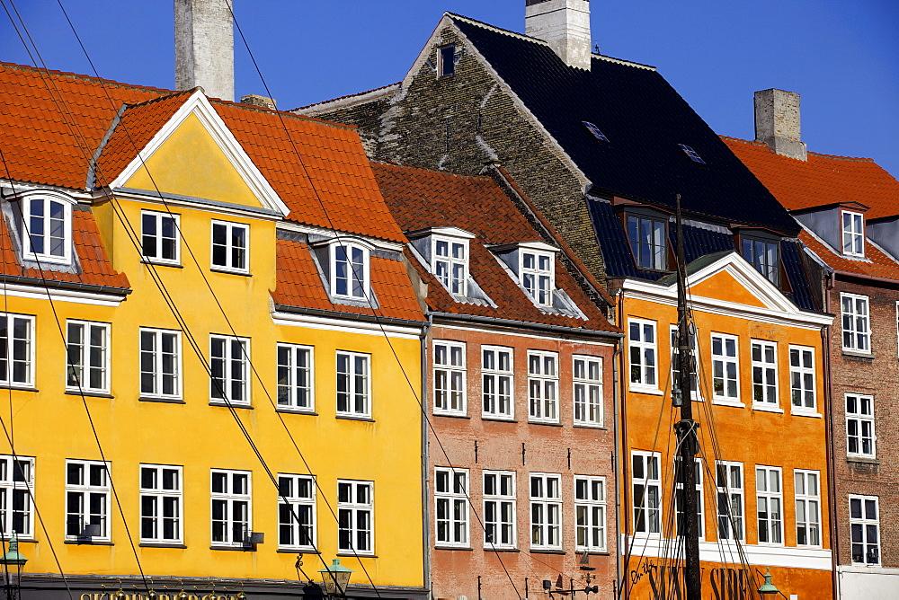 Old buildings in famous Nyhavn harbour area of Copenhagen, Denmark, Scandinavia, Europe