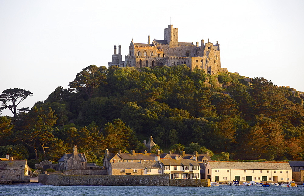 St. Michaels Mount, cut off from Marazion at high tide, Cornwall, England, United Kingdom, Europe - 851-570