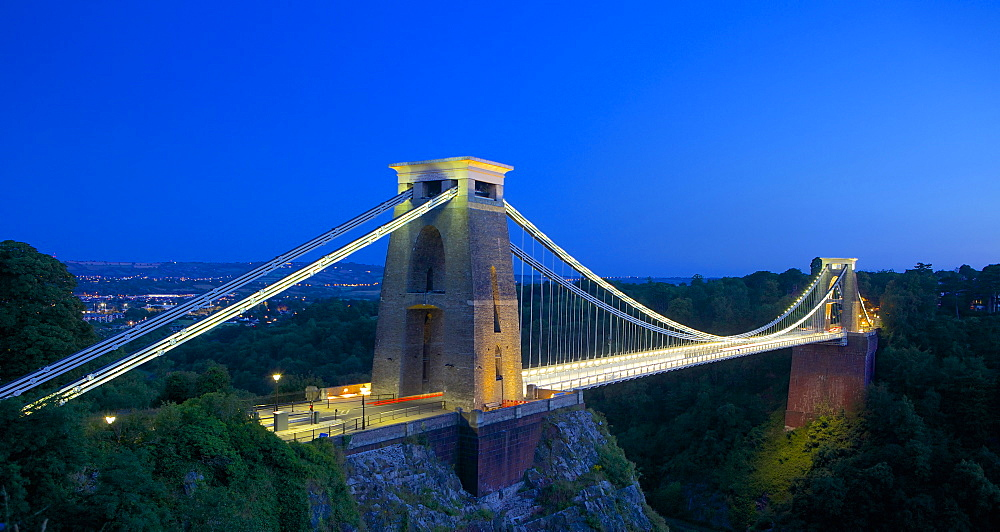Clifton Suspension Bridge lit up at night, Bristol, England, United Kingdom, Europe