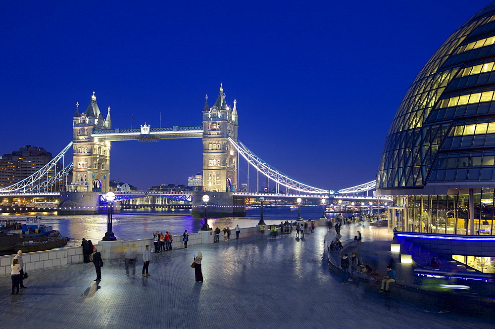 Tower Bridge and River Thames at night, London, England, United Kingdom, Europe - 851-601