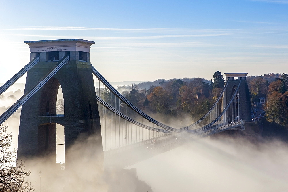 Clifton Suspension Bridge on a misty morning, Bristol, England, United Kingdom, Europe