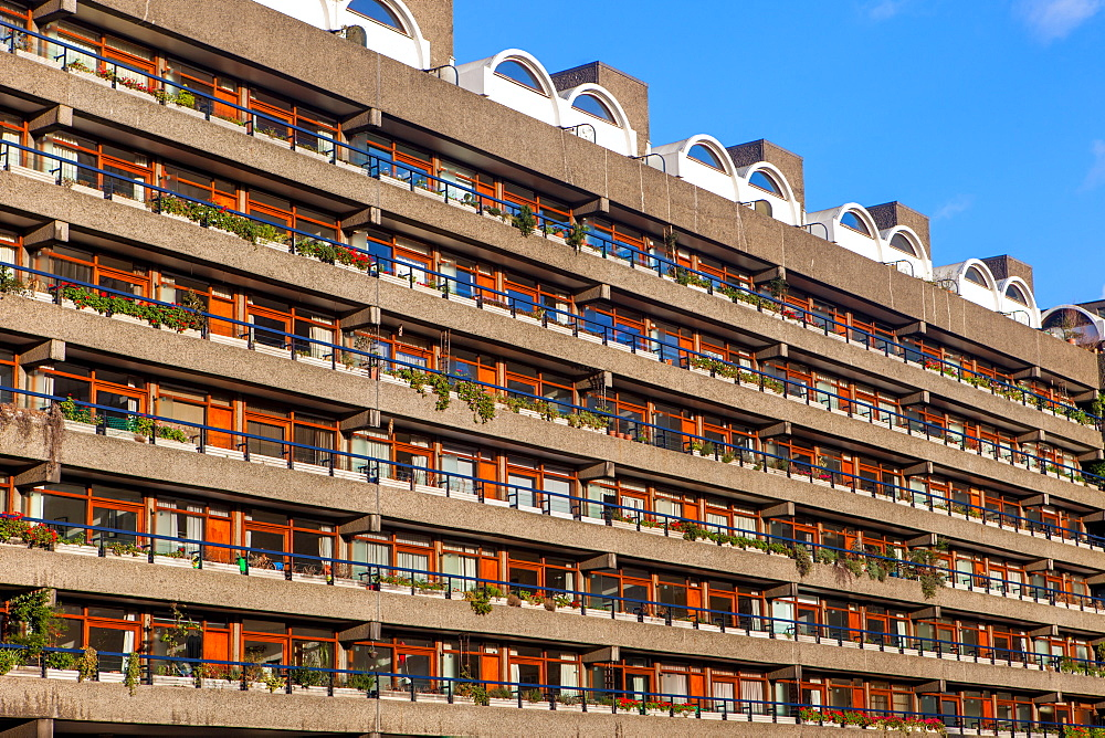 Barbican Apartments, modernist architecture and high rise residential living in London, England, United Kingdom, Europe - 851-625