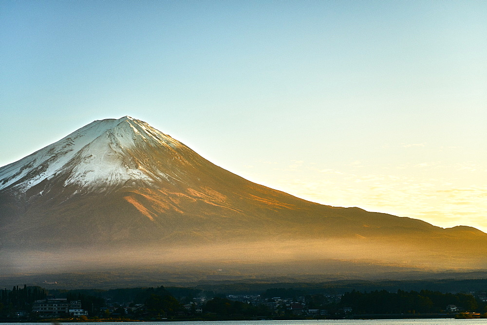Mount Fuji with a clear blue sky at sunset, UNESCO World Heritage Site, Yamanashi Prefecture, Honshu, Japan, Asia