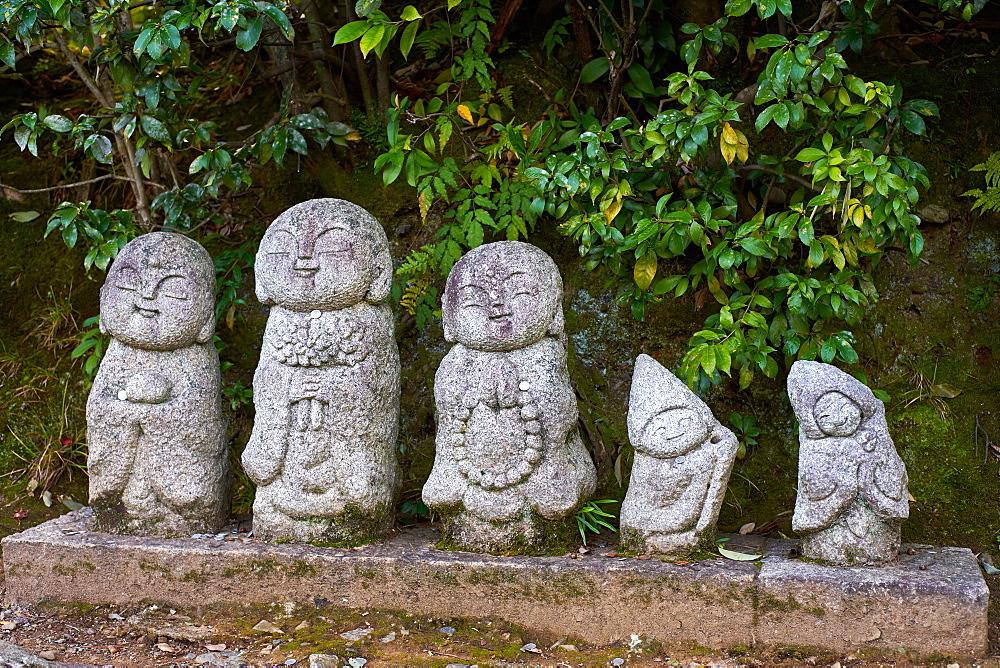Traditional stone Jizo Bosatsu statues in Arashiyama, Kyoto.