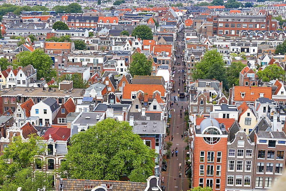 View from above of Leliedwarsstraatthe in the Jordaan, Amsterdam, North Holland, The Netherlands, Europe - 851-893