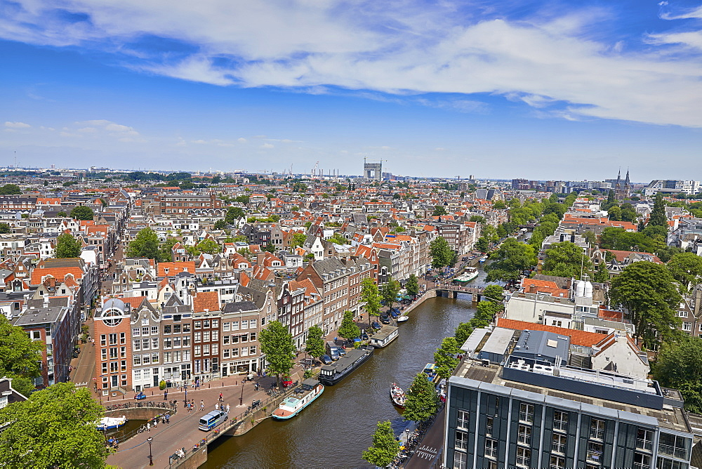 An aerial view of the Jordaan and Prinsengracht, Amsterdam, North Holland, The Netherlands, Europe - 851-896