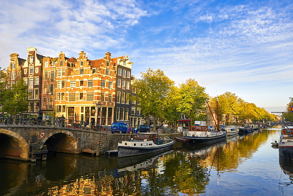 Houses and bridge where Prinsengracht meets Brouwersgracht in Amsterdam, North Holland, The Netherlands, Europe