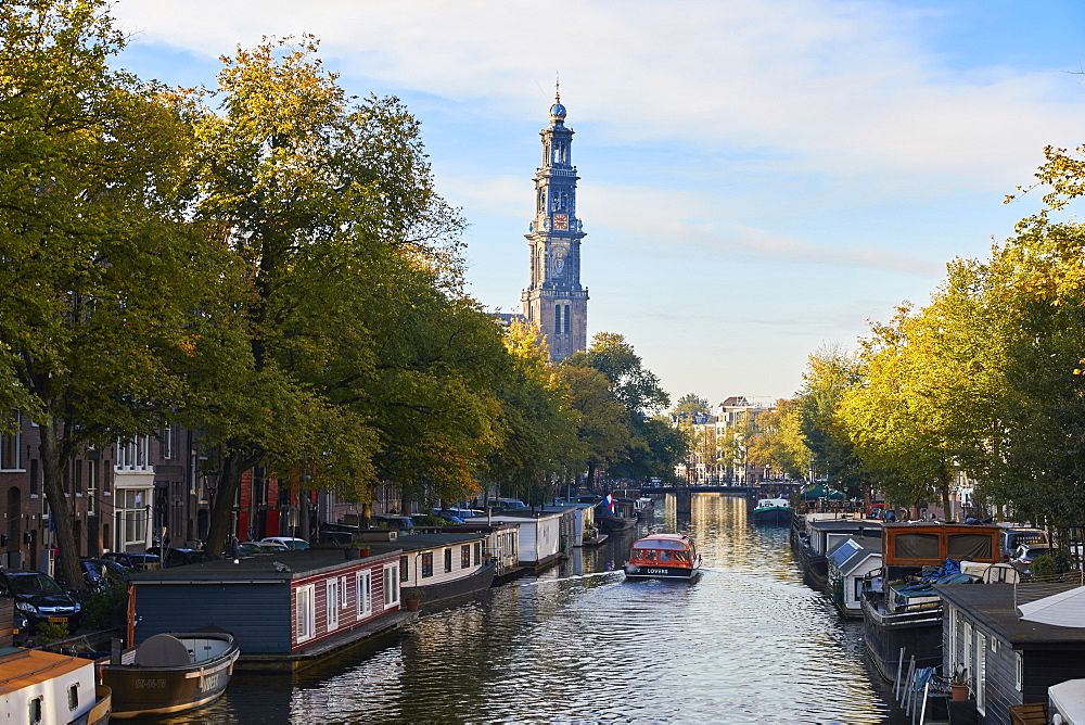 A view down Prinsengracht towards Westerkerk, Amsterdam, North Holland, The Netherlands, Europe - 851-901