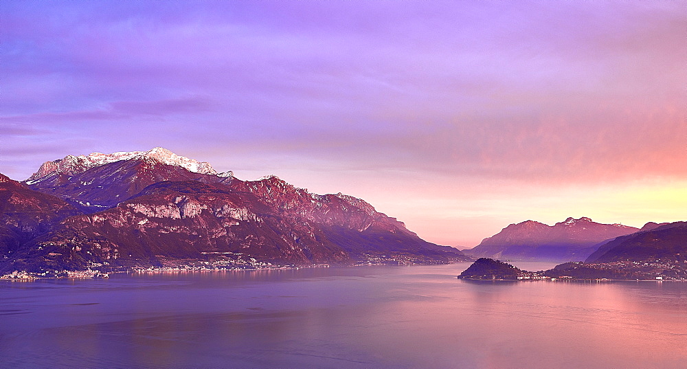 Bellagio and Varenna viewed from Menaggio on the western shore of Lake Como at sunset, Lombardy, Italian Lakes, Italy, Europe - 851-944