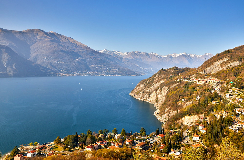 High angle view of Lake Como from Castle Vezio with Varenna and Gittana, Lombardy, Italian Lakes, Italy, Europe - 851-951