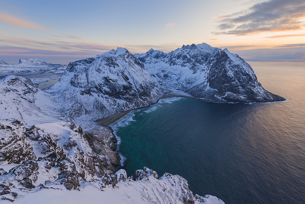 View Of Kvalvika Beach From Mount Ryten In Moskenesoya, Lofoten Islands, Norway