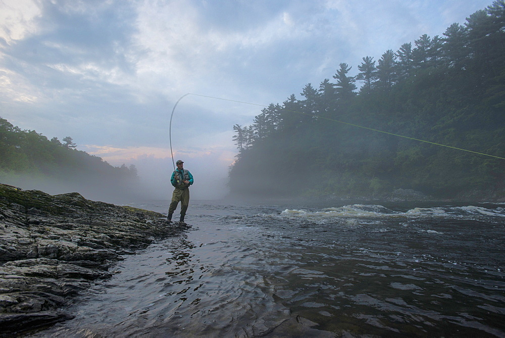 Fly Fisherman Fishing At Kennebec River, Maine
