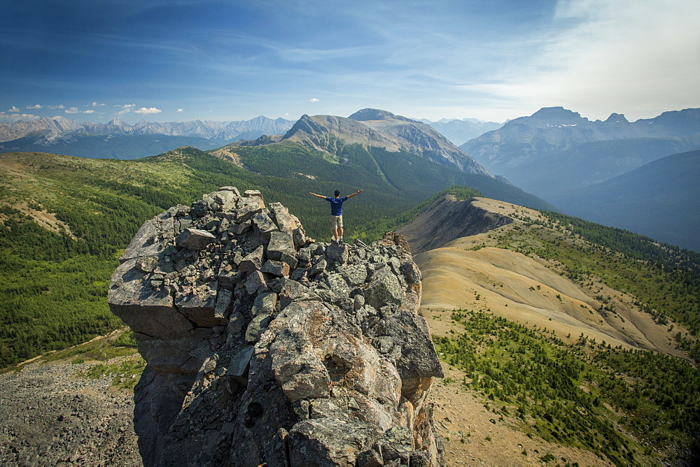 Person On Top Of Gibbon Pass In Alberta, Banff, Canada