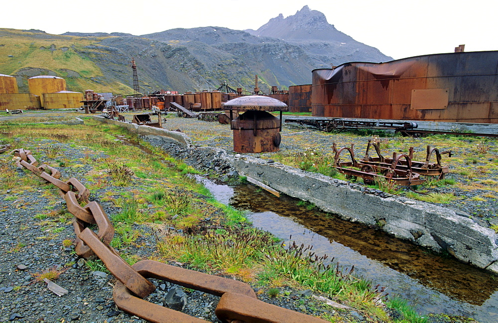 The cleaned-up former whaling station of Grytviken. Grytviken, South Georgia, Subantarctic