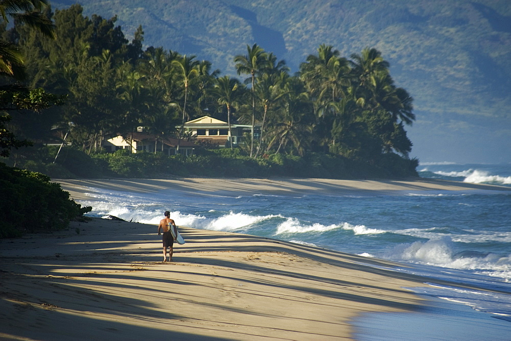 Surfer walks along the beach, North shore, Oahu, Hawaii, United States of America, Pacific