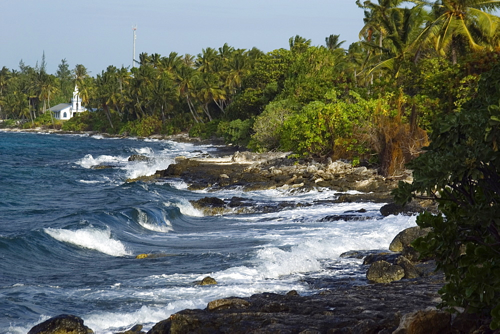 Church by the shore, Rongelap, Marshall Islands, Micronesia, Pacific