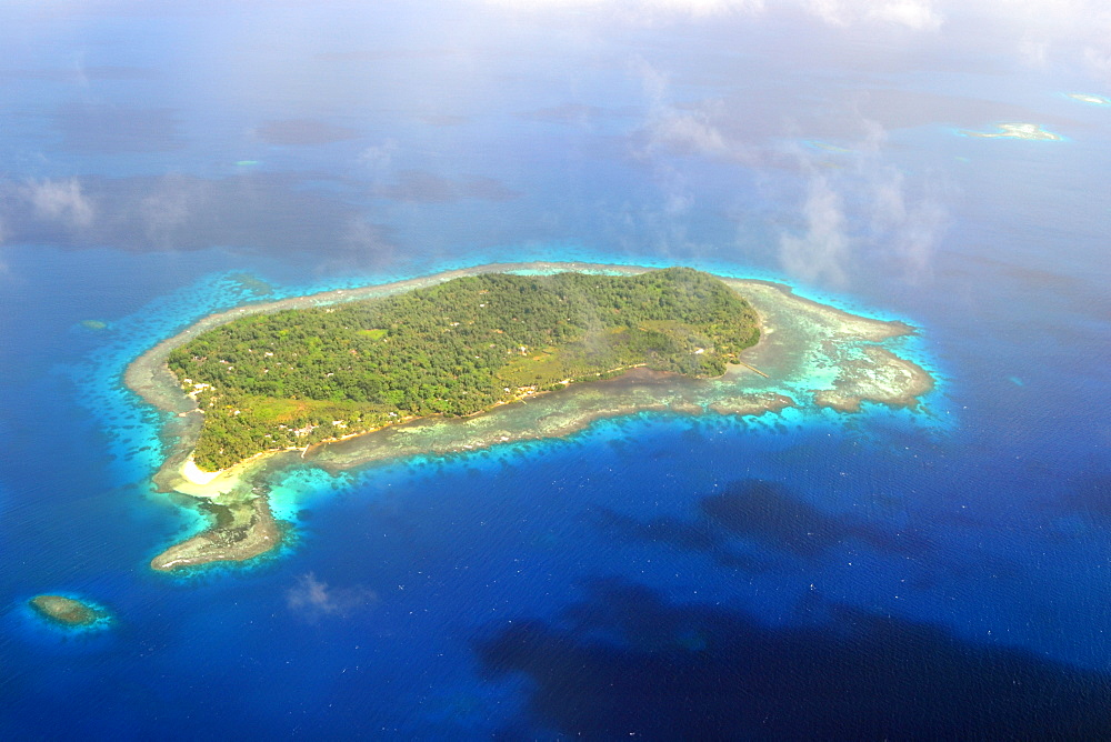 Aerial view of island near Chuuk, Federated States of Micronesia, Caroline Islands, Micronesia, Pacific Ocean, Pacific