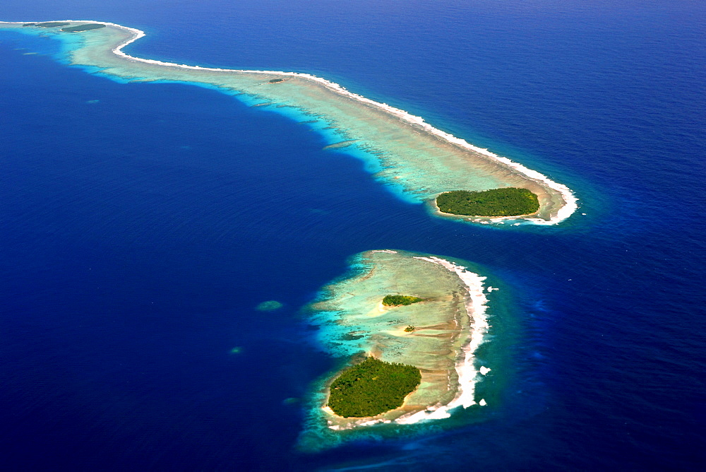 Aerial view of Micronesian atoll near Chuuk, Federated States of Micronesia, Caroline Islands, Micronesia, Pacific Ocean, Pacific
