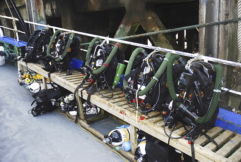 Scuba Diving Equipment on board dive boat, Scapa Flow, Orkney islands, Scotland, UK