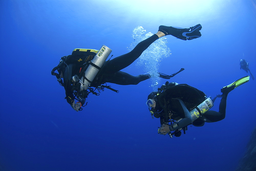 Technical Divers using Trimix, Rebreathers and technical diving equipment, Divetech, Grand Cayman, Cayman Islands, Caribbean - 970-777