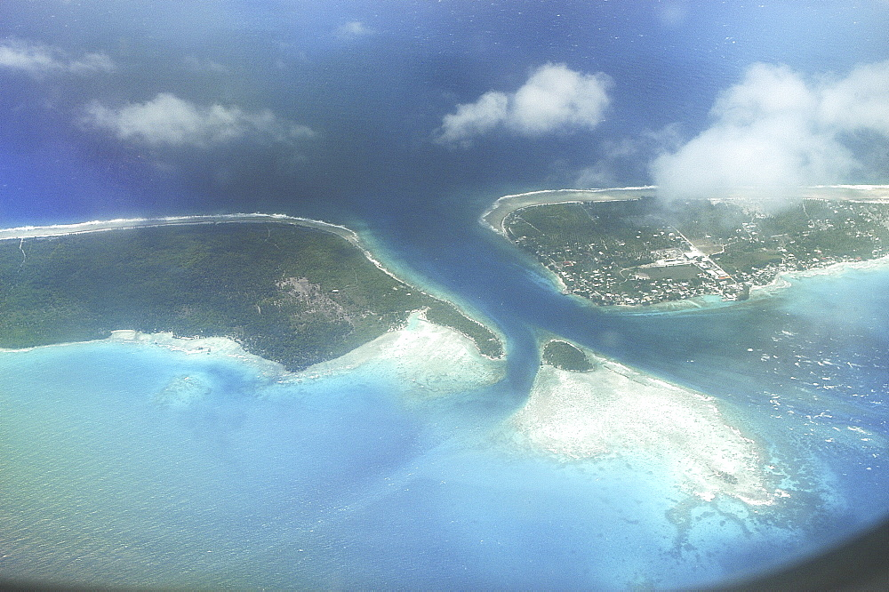 Rangiroa atoll, lagoon and coral reefs from the air - 970-916
