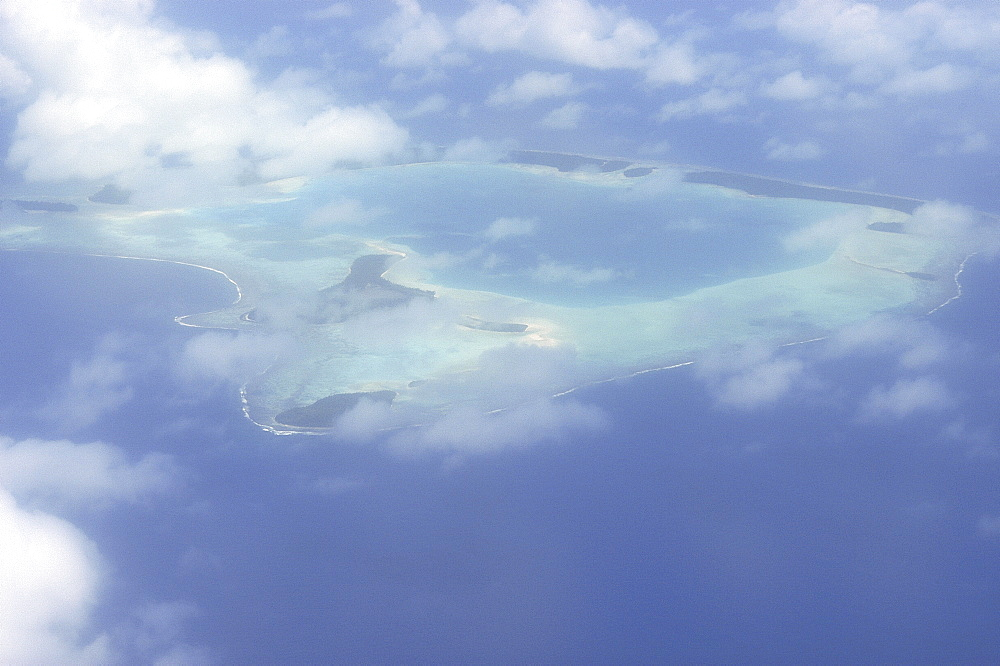 Rangiroa atoll, lagoon and coral reefs from the air