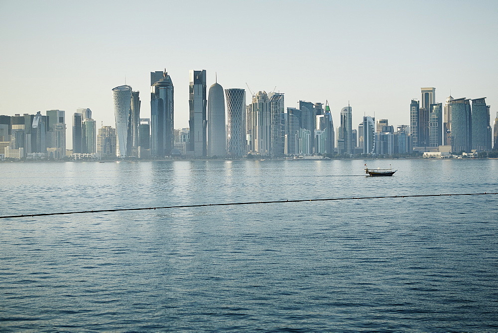 Downtown Doha with its impressive skyline of skyscrapers, Doha, Qatar, Middle East - 975-261