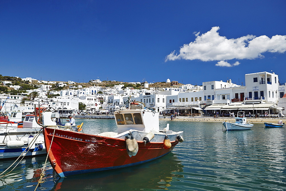 Fishing boats moored in the harbour, Mykonos Town (Chora), Mykonos, Cyclades, Greek Islands, Greece, Europe - 975-275