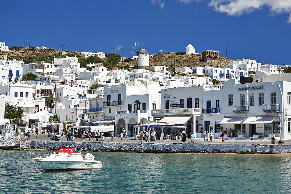 Harbourside, Mykonos Town (Chora), Mykonos, Cyclades, Greek Islands, Greece, Europe - 975-276
