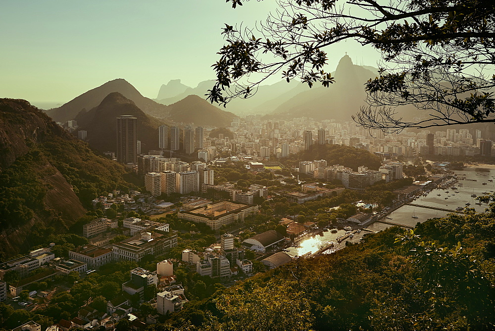 Views of Rio de Janeiro and Christ the Redeemer from Sugarloaf mountain (Pao de Acuca) at sunset, Rio de Janeiro, Brazil, South America - 975-300