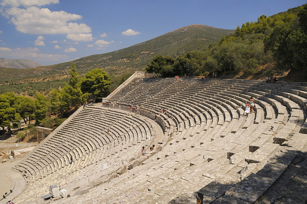 Ancient theatre of Epidaurus (Epidavros), Argolis, Peloponnese, Greece, Europe - 989-415