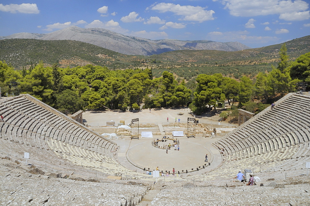 Ancient theatre of Epidaurus (Epidavros), Argolis, Peloponnese, Greece, Europe - 989-416