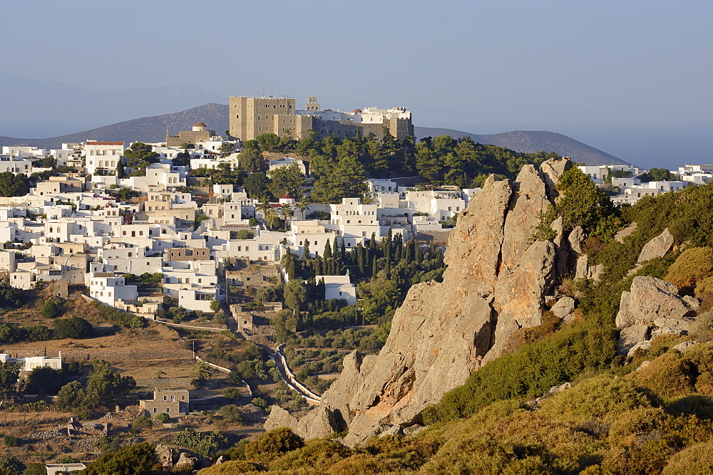 Overview of Chora and the Monastery of St. John the Theologian, UNESCO World Heritage Site, Patmos, Dodecanese Islands, Greek Islands, Greece, Europe - 989-417