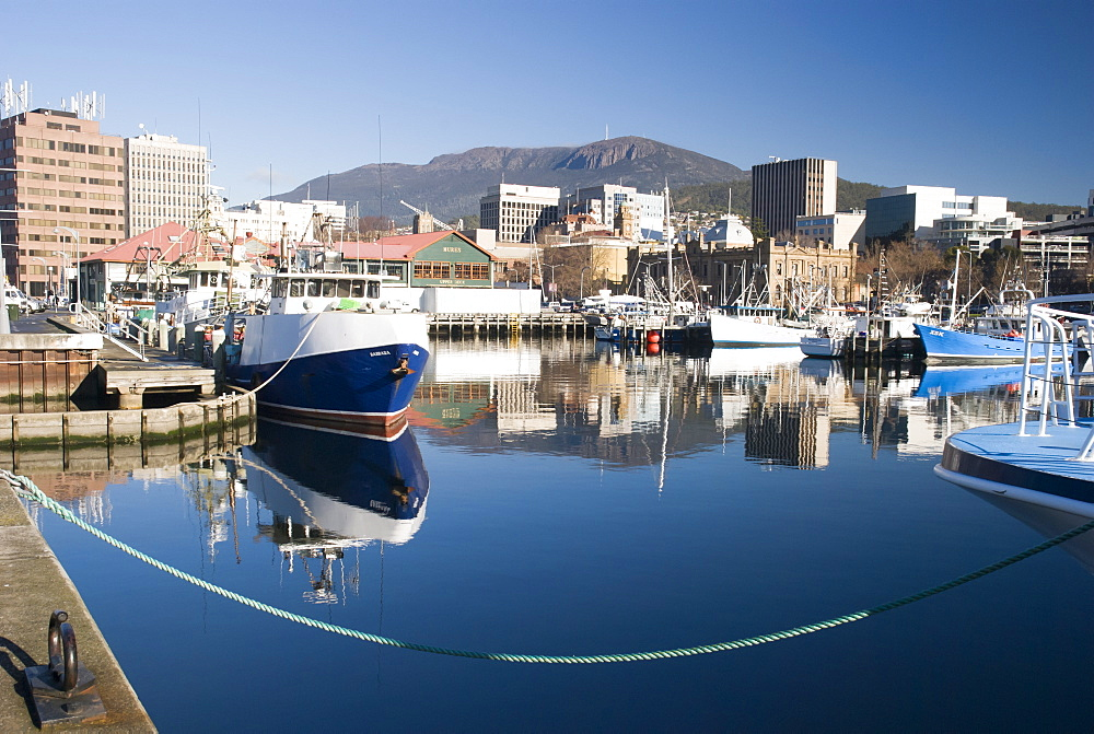 Victoria dock and Hobart city overlooked by Mt Wellington, Hobart, Tasmania, Australia