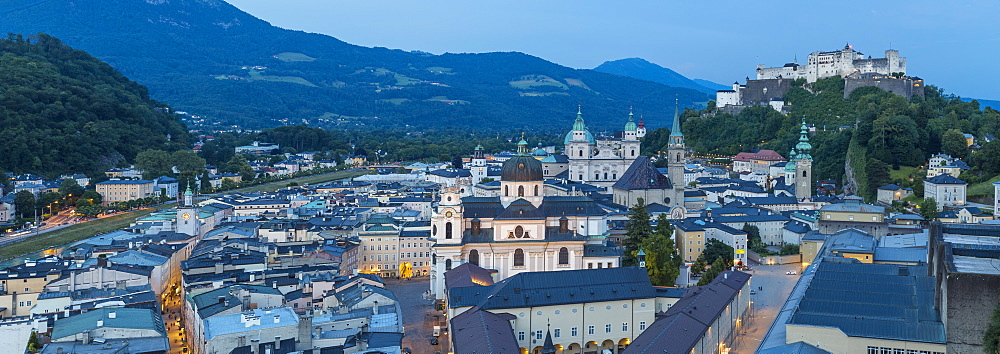 View of Hohensalzburg Castle above The Old City, Salzburg, Austria, Europe