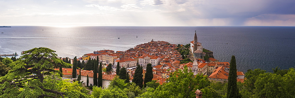 Piran and the Mediterranean Sea, seen from Piran Town Walls, Piran, Primorska, Slovenian Istria, Slovenia, Europe