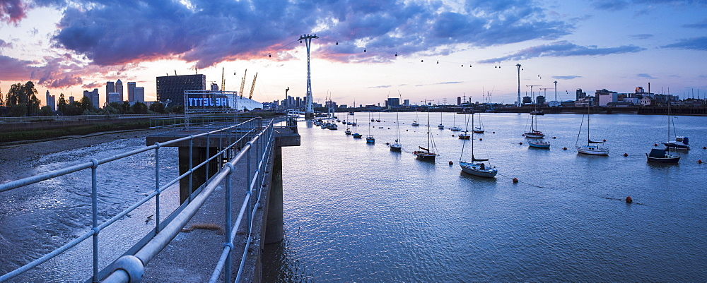 River Thames at sunset and the Emirates Air Line Cable Car, East London, England, United Kingdom, Europe