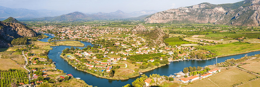 View over Dalyan River from the ancient ruins of Kaunos, Dalyan, Mugla Province, Anatolia, Turkey, Asia Minor, Eurasia